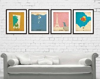 Monsters, Inc Finding Nemo Ratatouille UP Minimalist Poster Print Set of 4