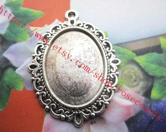 Wholesale 20pcs  Antiqued Silver flower oval cabochon base/cameo(25x18mm) setting pendants blank