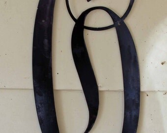 "22 inch Black Script Metal Letter ""O"" Door or Wall Hanging"