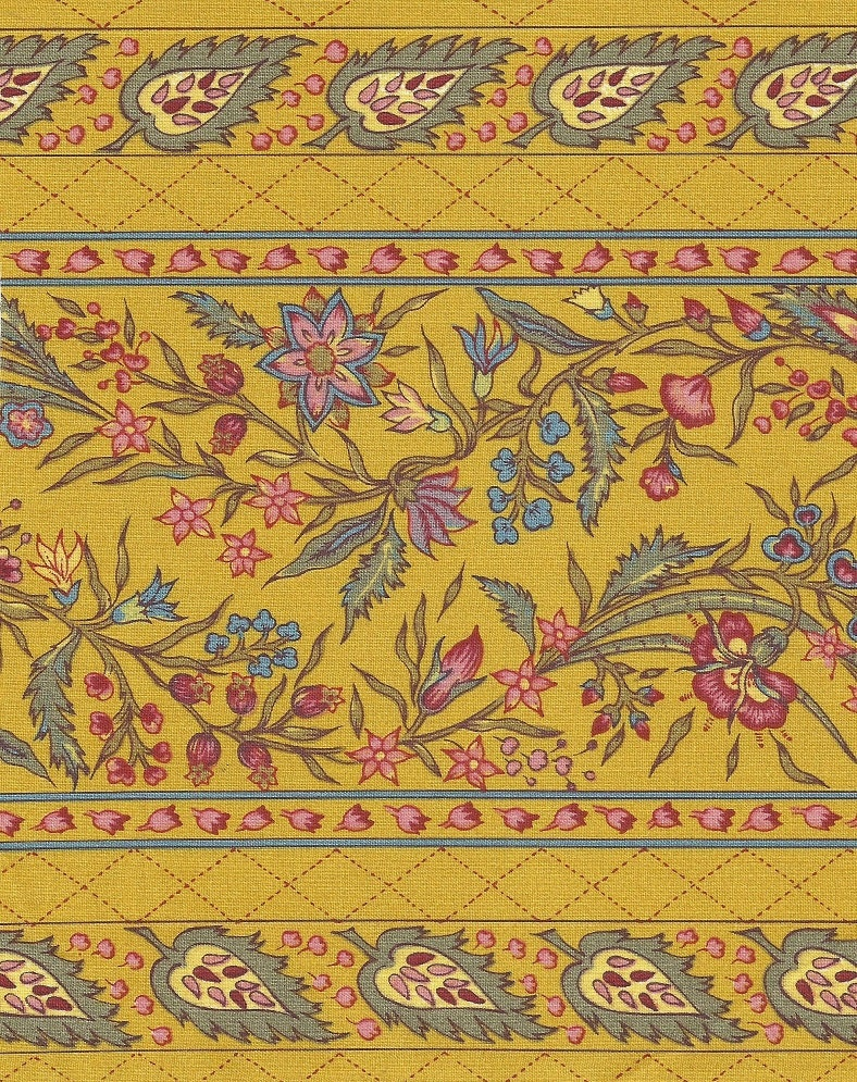 Dutch chintz border fabric provence ecru half by motifsbyhand for Chintz fabric