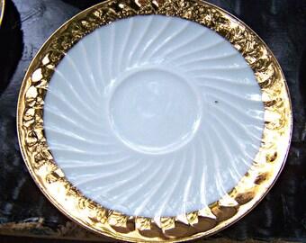 6 Vintage Gold Trimmed Gareis WALDSASSEN BAVARIA Saucers