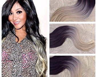 Grey hair extensions etsy 5 star ombre cuticle remy human hair keratin fusion tape in seamless weft hair extensions pmusecretfo Image collections