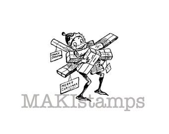 Holiday rubber stamp / Brownie with loads of christmas presents / Unmounted rubber stamp (131122)