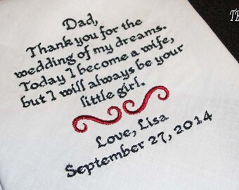 Father of the Bride Handkerchief with FREE Gift Box, Thank You For The Wedding Of My Dreams - Thread Born Memories