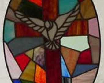Stained Glass Cross, Stained Glass Cross with Dove