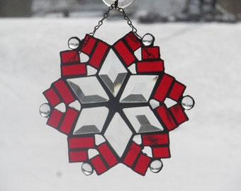 Stained Glass Beveled Snowflake Suncatcher