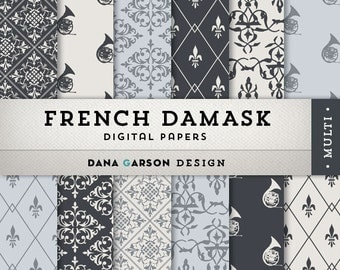 Damask, Fleur de Lis, French Horn Digital Papers in blacks and grays for invites, printing, scrapbooking, blog graphics, clipart, ClipArt