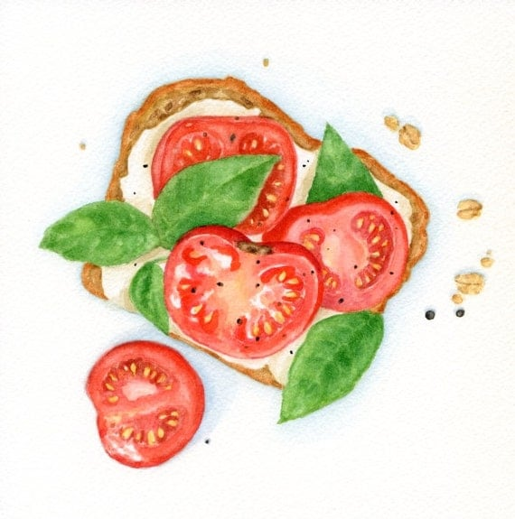 Summer Sandwich Original Painting Food Illustration Still