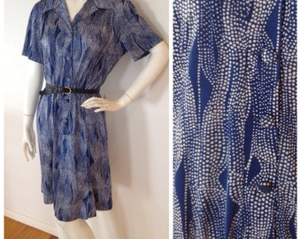 Vintage //  abstract SPOT design blue shirt dress // size 14 - 16 //