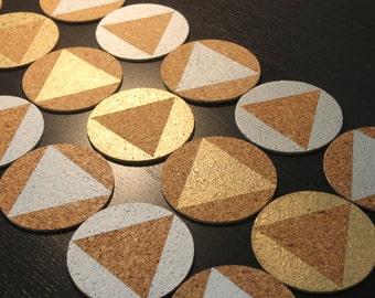 Metallic/White Cork Coasters