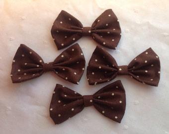 Brown and Creme Polka Dot Hair Bow