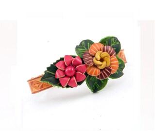 Genuine Leather Flower Bracelet /  Red Yellow Flower Bracelet /  Boho Chic