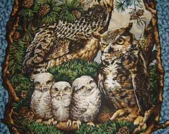 Per Panel, Owl Family Fabric