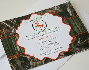 Set of 2 Printed Boy Hunting Camo Baby Shower Invitations by (Atom Design)