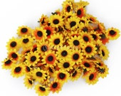 100x Artificial Gerbera Daisy Silk Flowers Heads for Diy Wedding Party - Yellow Sunflower