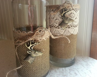 BURLAP AND LACE Set of Two Vases Rustic Barn Wedding Woodland Custom Requests Welcome