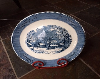 Currier and Ives oval platter