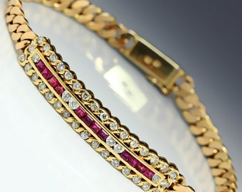Estate 1.68ctw Calibre Cut Ruby & Round Diamond Link Bracelet 14kt Yellow Gold