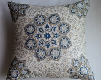 Medallion Pillow Cover in Blue from Jaclyn Smith Home Collection with Trend Fabrics