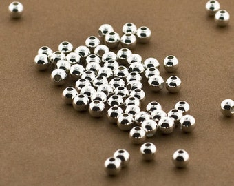 50 Sterling Silver 4mm Round Seamless Smooth Beads - 4mm Sterling Silver Beads