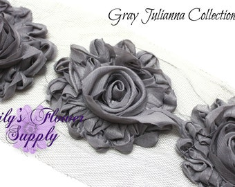 Gray Shabby Rose Trim - Shabby Flower Trim - Shabby trim - Shabby Flower - Chiffon Flower - Shabby Chic - Rose Trim - Wholesale - Julianna