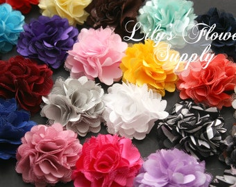 Mini Satin Mesh Flowers - 2 Inch Flower - Fabric Flower - Lace Flowers - Satin Flowers - Satin Rose - Petite Flower - Wholesale flowers