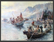 """8x10"""" Silk Canvas Print, Lewis and Clark on the Lower Columbia, 1905, Explorer, Expedition"""