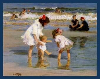 "8x10"" premium poster paper, Free ship US, Children Playing at the Seashore, Claude Monet, Ocean, Boy, Girl, Toddler"