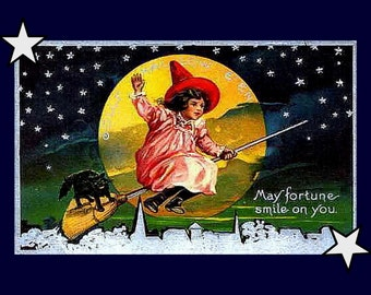"Girl Witch on Broom, Black Cat, Full Moon, Halloween, Holiday, 8x10""  premium poster Print"