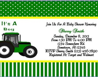 Green Baby Shower Invitation~Personalized~Digital~Printable