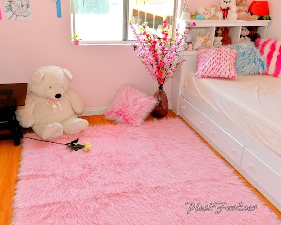 Teppichboden kinderzimmer rosa  Rosa Monglian Fur Hochflor Faux Fur Throw Teppich Teppich