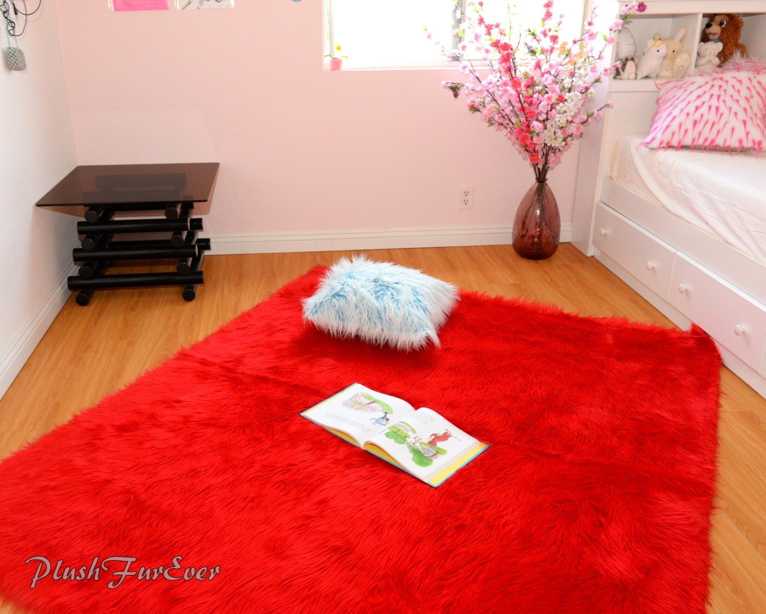 Red Shaggy Faux Fur Throw Rug Carpet Plush Sheepskin