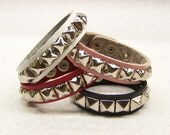 "3/4"" - 19mm Wide Genuine Leather studded Wristband with single rows 1/2"" pyramid studs bracelet Rock Black Red Pink White"