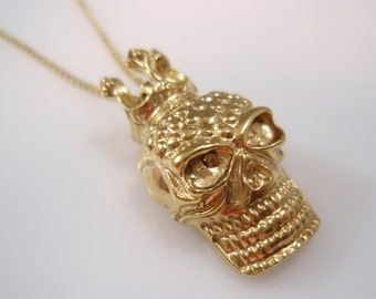 14k gold filled king skull Crown head pendant