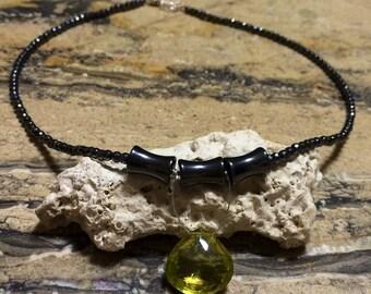 Sterling silver Ouro Verde hematite Statement Necklace