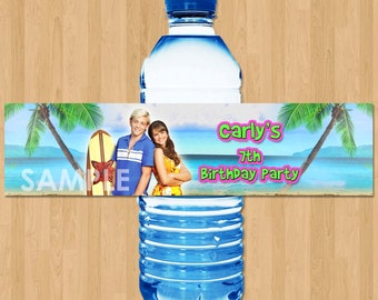 Teen Beach Movie Bottle Label Water Wrapper - Teen Beach Movie Water Bottle Labels Wrapper - Personalized Printable Birthday Party Favor