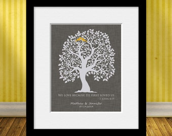 Wedding Gift Print, Thank You Gift for Parents, Wedding Tree with Lovebirds, 1 John 4:19, Parent's Gift, Bridal Shower Gift, Christmas Gift