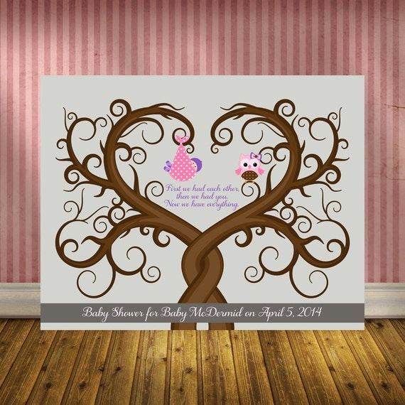 alternative baby shower guestbook thumbprint tree with baby owl girl