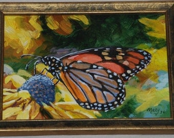 Muzy, Monarch on a Yellow Blossom, acrylic by Muzy.