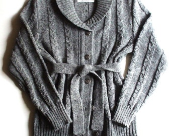 Women's lambswool cable knit shawl collar cardigan/sweater/belt/plaits