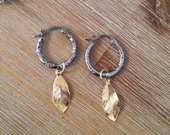 14k gold plated leaf hoop earrings with antique silver finishing