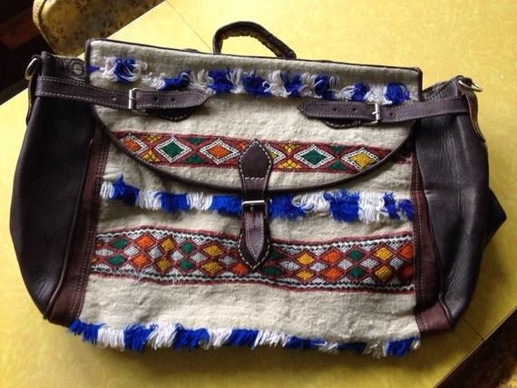 Leather Carpet Bag Moroccan Carpet Bag Luggage