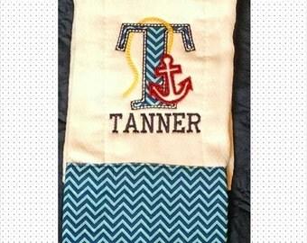 personalized anchor burp cloth,girls or boys monogrammed burp cloth,nautical burp cloth,baby shower gift,newborn baby gift,unisex baby gift