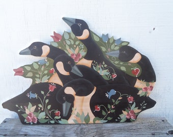 Gaggle of Geese-Large Vintage Hand Painted Country Geese Folk Art Wall Decor