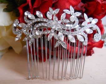 Vintage Silver Bridal Hair Comb, Wedding Hair Comb, Wedding Hair Accessories, Rhinestone Bridal Comb, Crystal Wedding Comb, Bridal Headpiece