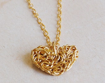 Handmade Interweaving Gold Heart Pendant on Gold Necklace