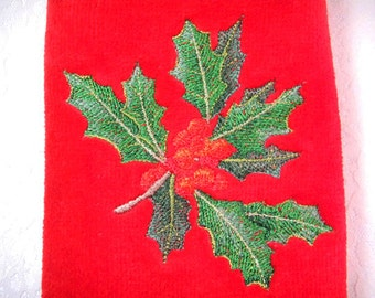Set of 2 embroidered fingertip guest towels Christmas holly holiday hostess gift powder room fingertip towels