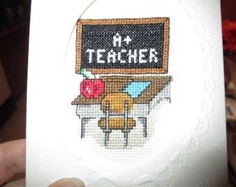Teacher Cross-Stitch Greeting Card