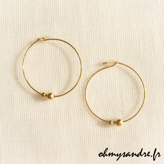 Boucles d'oreilles créoles gold filled et perles