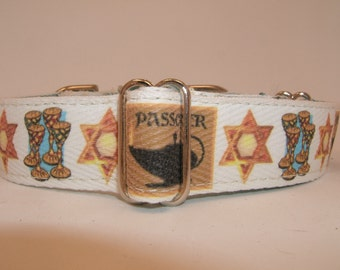 "Passover Medium 1"" Martingale Dog Collar"